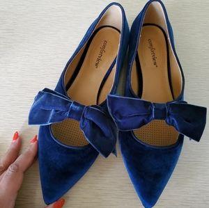 Comfortview 11W Wide Nola Blue Velvet Bow Flats